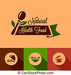 flat natural food design elements - Healthy Food Design...