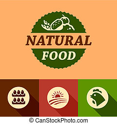 flat natural food emblems