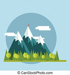 Flat nature landscape illustration - Vector illustration in tren