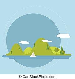 Flat nature landscape illustration - Vector illustration in tren