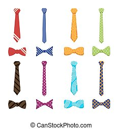 Flat neckties and bow ties icons - Flat ties and bow ties...