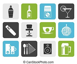 Flat Night club, bar and drink icon
