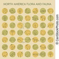 Flat North America flora and fauna elements. Animals, birds...