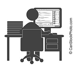 Flat office computer icon with chat isolated on white