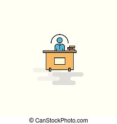 Flat Office desk Icon. Vector