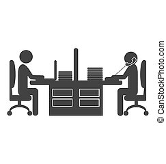 Flat office icon with workers isolated on white