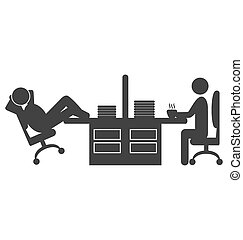 Flat office icon with workers on coffee break isolated on...