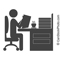 Flat office read newspaper icon isolated on white