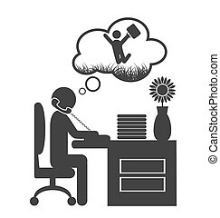 Flat office spring dream icon isolated on white