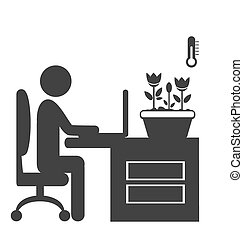 Flat office spring icon isolated on white