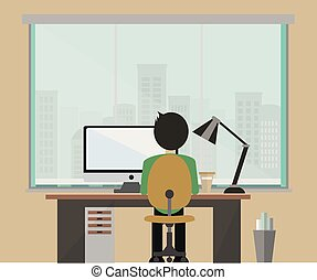 flat office with a large window and a man who works at the computer
