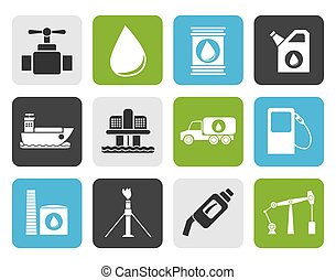petrol industry objects icons - Flat oil and petrol industry...