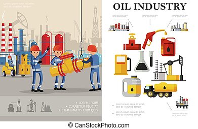 Flat Oil Industry Concept
