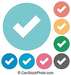 Flat ok icons - Flat ok icon set on round color background....