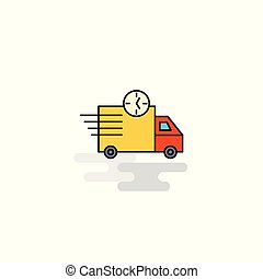 Flat On time delivery Icon. Vector