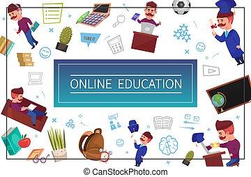 Flat Online Education Concept