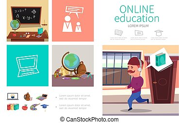 Flat Online Education Infographic Concept