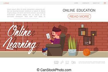 Flat Online Education Website Concept