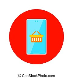 Flat Online Shopping Circle Icon. Vector Illustration of Shop Object