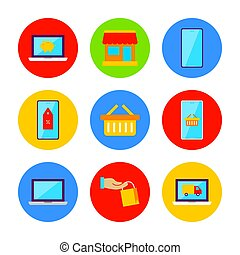 Flat Online Shopping Icon Set. Vector Illustration of Shop Objects