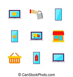 Flat Online Shopping Set. Vector Illustration of Shop Objects