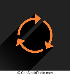 Flat orange arrow icon refresh, rotation sign