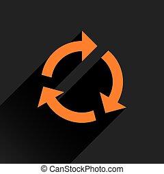Flat orange arrow icon refresh, rotation sign