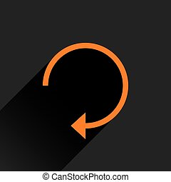Flat orange arrow icon reload, repeat sign
