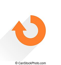 Flat orange arrow icon repeat sign on white