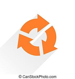 Flat orange arrow icon reset, repeat sign on white