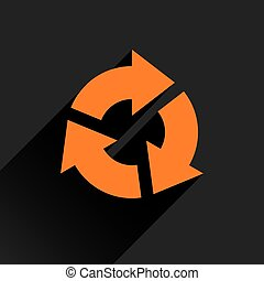Flat orange arrow icon reset, repeat sign