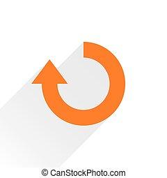 Flat orange arrow iconrefresh, rotation sign