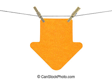 Flat orange arrow sticky note