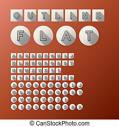 Flat Outline Font and Numbers