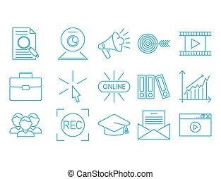 Flat outline icons online education staff training book store distant learning knowledge vector illustration