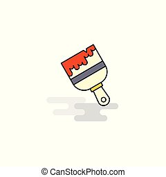 Flat Paint brush Icon. Vector