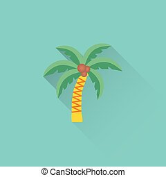 flat palm icon on blue background