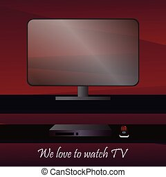 flat-panel TV - Vector picture with a view of the flat-panel...