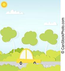 flat paper car on road