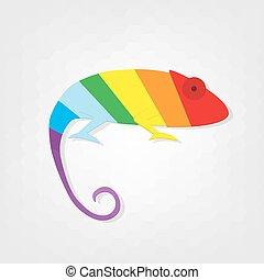 flat paper creative chameleon icon