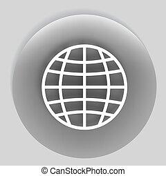 Flat paper cut style icon of globe