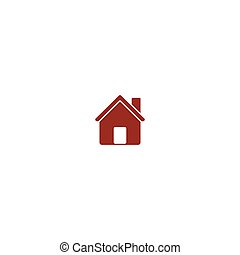 Flat paper cut style icon of house