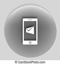 Flat paper cut style icon of SMS