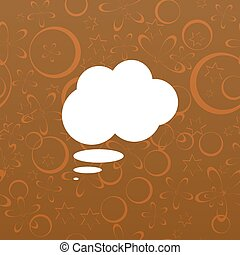 Flat paper cut style icon of thought cloud