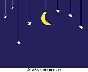 flat paper moon and stars hanging on strings