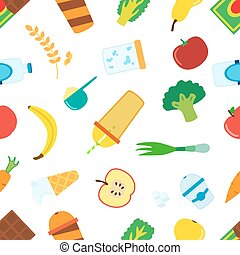 Flat pattern of cartoon food for smoothie with blender, mixer.
