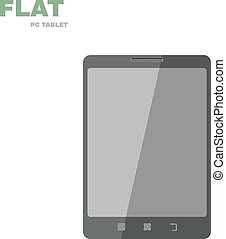 Flat PC tablet isolated on white. Vector