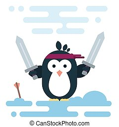 Flat penguin character stylized as a barbarian with two swords.
