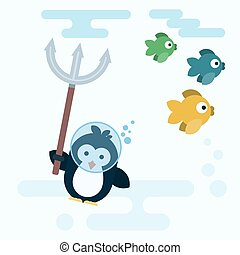 Flat penguin character stylized as a fish hunter with trident.