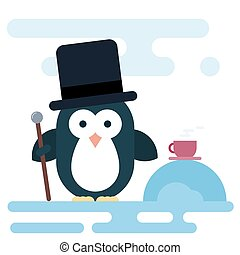 Flat penguin character stylized as a gentleman with walking stick and cup of tea.